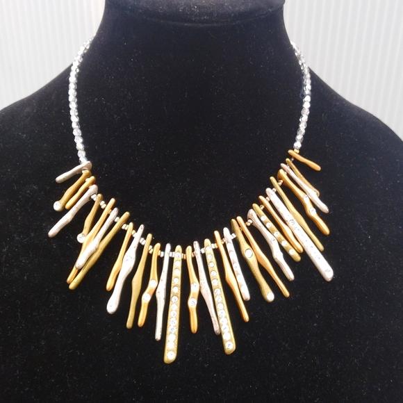 Gold Silver Diamond Necklace